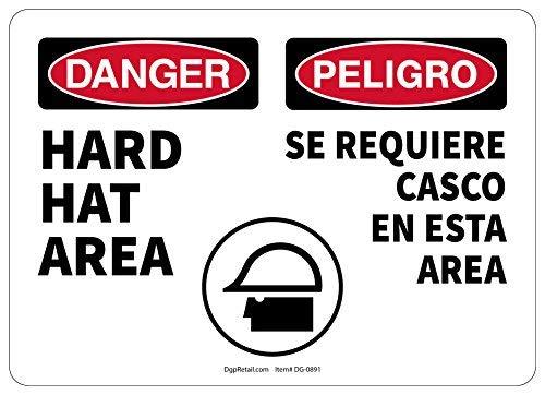 Gevaar Veiligheidsbord Harde Hoed Gebied Tweetalig Spaans - 8x12 Inch