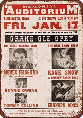 Stevenca Metal Tin Sign 1967 Merle Haggard in Iowa Vintage Look Reproduction 8x12 Inch Wall Decor