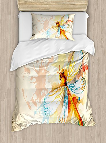 Ambesonne Dragonfly Duvet Cover Set, Watercolor Moth with Branch Print Wings on Abstract Backdrop, Decorative 2 Piece Bedding Set with 1 Pillow Sham, Twin Size, Yellow Peach