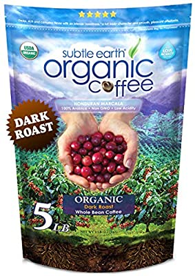 5LB Subtle Earth Organic Coffee - Dark Roast - Whole Bean Coffee - Organic Arabica Coffee - 5 lb bag