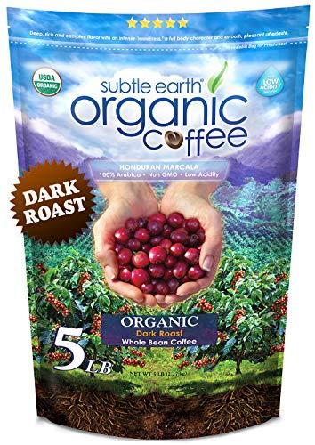 5LB Subtle Earth Organic Coffee - Dark Roast - Whole...