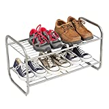 2-Tier Shoe Rack, Shoe Shelf Storage Organizer, Metal Wire Grid Shoe Rack for Bedroom Hallway and Entryway