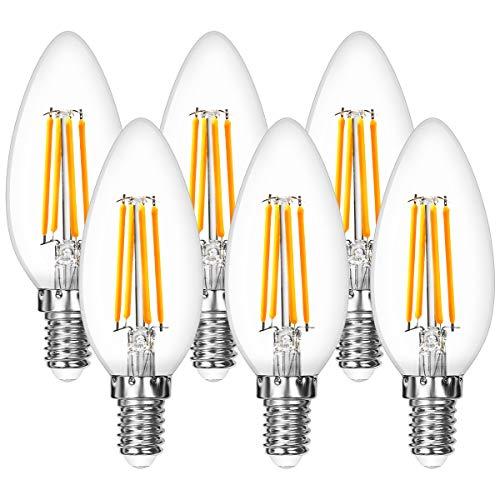 Lepro Glühbirne E14, 4.5W E14 LED, E14 LED Warmweiss, 6er Pack, 470 Lumen Filament Lampe, Classic Lampe Birnen in Kerzenform, 2700 Kelvin Warmweiß, ersetzt 40 Watt, Filamentstil Klar