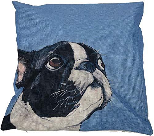 Jilibaba Personalizzato Europeo Bulldog Francese Tema Stampato Modello Cuscino Set Lino Cotone Quadrato Federe Blu sfondo nero cane