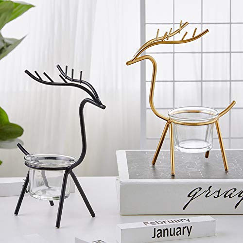 Zebery Reindeer Candle Holder, 2PCS Tea Light Candle Holders Christmas Tabletop Candle Holders for Holiday Decoration Home Decor