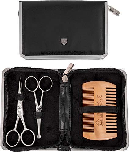 Drei Schwerter – Pflegeset ´Gladio` für tägliche Bartpflege, Bartkamm, Bartschere, Nasenhaarschere, Kunst Leder Etui – Markenqualität (5526)