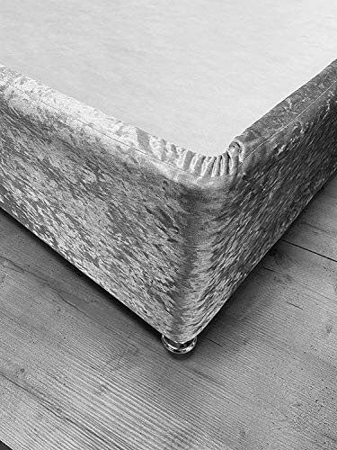 SeventhStitch Crushed Velvet Divan Bed Base Wrap Valance Silver Grey Sheet Frame Cover Fully Elasticated Single Double King Super King Size (Silver, King)