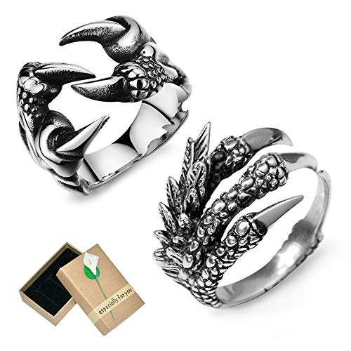 EQLEF Dragon Claw Ring Set, Gothic Ring Adjustable Wild Alondra Open Punk Ring Gift Cool Dragon Ring for Men Women (C)