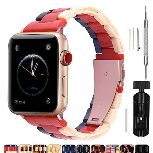Cinturino per Apple Watch 38 mm, Moda Cinturino in Resina Per iWatch Compatibile con Apple Watch Serie 5 4 3 2 1, Hermes, Nike +, Edition, Sport, 38mm, Beige + Rosso + Zaffiro(Hardware Rosso Rosa)