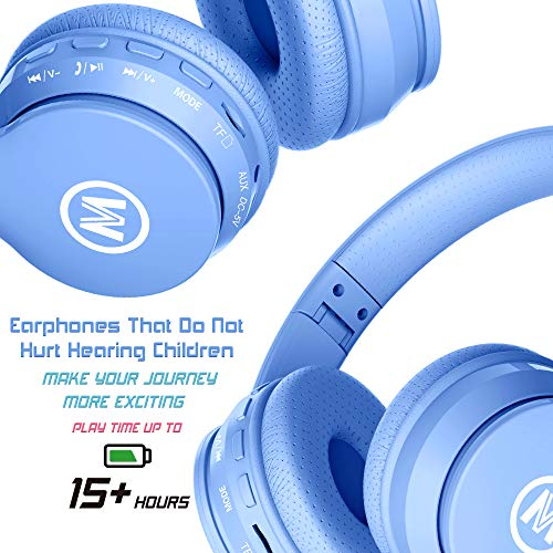 Mokata Volume Limite   d 85dB Kids Headphone Bluetooth Wireless Over Ear Foldable Stereo Sound Noise Protection Headset with AUX 3.5mm Cord Microphone for Boys Girls Cellphone Pad TV PC Notebook Blue