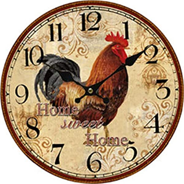 Home Sweet Home Rooster Wood Clock Battery Operated Clock Wall Art Decorations 10 Inches