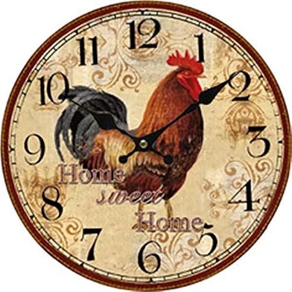 家居甜美家居公鸡木头时钟电池供电时钟墙壁艺术装饰品 10 英寸
