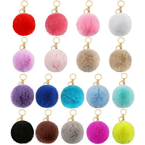 Auihiay Pompon-Schlüsselanhänger, flauschige Pompons aus künstlichem Kaninchenfell, Schlüsselanhänger, 18 Stück