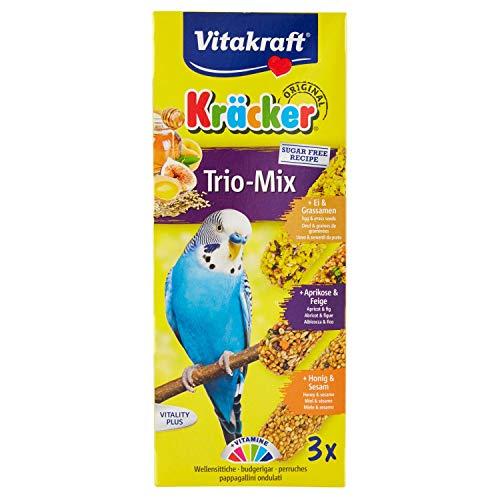 Vitakraft - Kräcker Trio-Mix(Ei-Grassamen/Aprikose-Feige/Honig-Sesam) Sittiche  80 g - 3er Pack