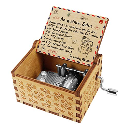 Kenon Gravierte Holzspieluhren Handgefertigte hölzerne Spieluhren und Lieder mit Edelstahl von Music Chests Custom Vintage Handkurbel Spieluhr Weihnachtsgeburtstagsgeschenk (Für Sohn von Mama)