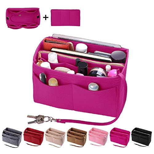 Purse Organzier, Bag Organizer with Metal Zipper (Medium, Rosy)