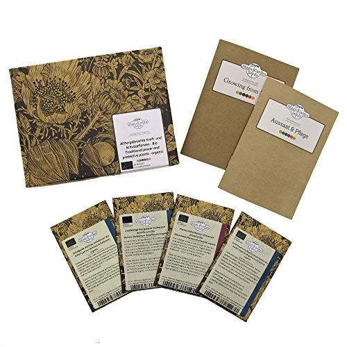 Althergebrachte Kraft- und Schutzpflanzen (Bio) - Samen-Geschenkset mit 4 sehr alten, traditionellen, magischen Kräutersorten