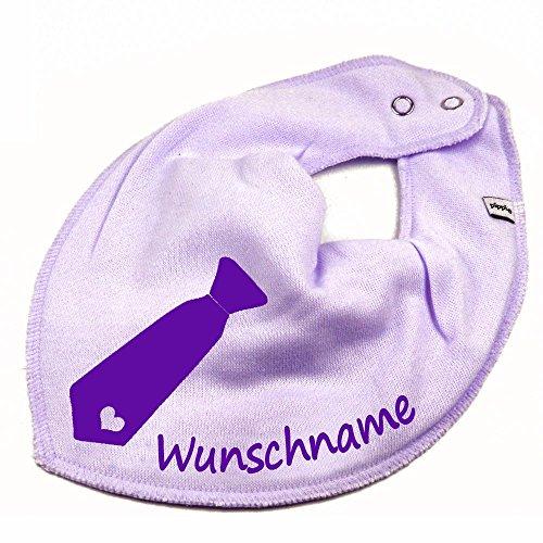 Elefantasie Halstuch Krawatte mit Namen oder Text personalisiert Flieder für Baby oder Kind