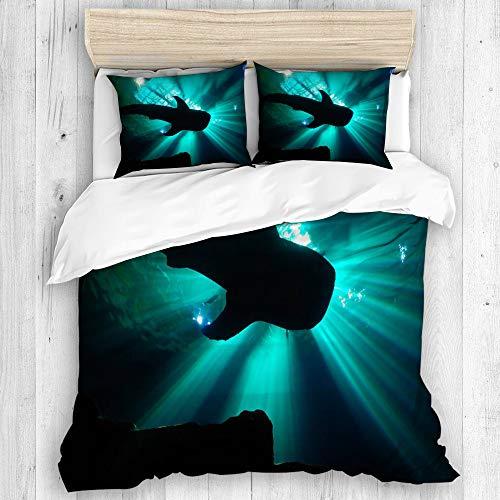 ZORMIEY Bettwäsche - Bettwäscheset,EIN Walhai in einem Aquarium, unter glühenden Dämmerungsstrahlen,Microfaser Winter Neue Dreiteilige Reihe Von Verschiedenen Mustern Einzeln 135 x 200cm