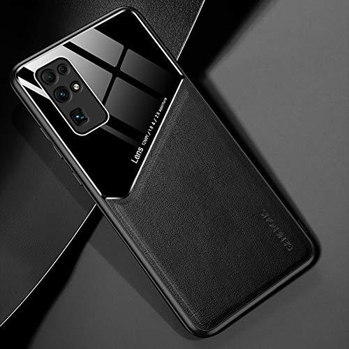 LWL House Caso para Huawei Honor 30 Funda Protectora de Vidrio orgánico + de Cuero Todo Incluido con Chapa de Hierro metálico (Color : Black)
