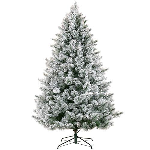 LordofXMAS Flocked Christmas Tree Prelit Artificial 9 feet Pine 950 Clear Lights