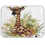 QMIN - Alfombrilla de secado de platos, diseño de jirafa de acuarela, reversible, absorbente, para platos, para cocina, encimera, hogar, cafetera, fregadero, 45,7 x 61 cm