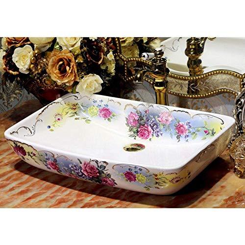 shuip Wasserhahn/Badzubehör Rechteckige Form Europa Stil Waschbecken Waschbecken Jingdezhen Kunst Zähler Top Keramik Waschbecken Bemaltes Porzellan Waschbecken
