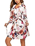 Hotouch Women's Printed Short Cotton Robes Bridesmaid Bride Party Robes Sleepwear Black Rose S