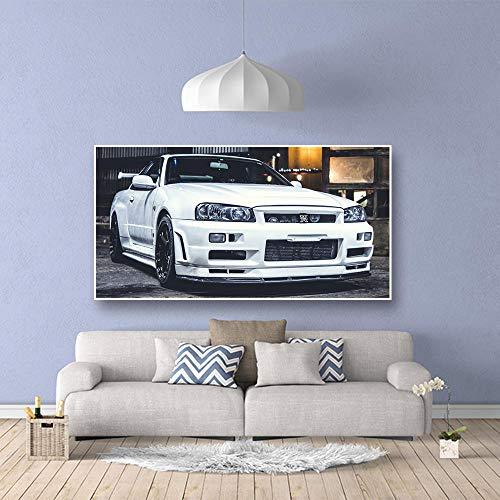 Muur Canvas Schilderij HD Print Kunstwerk klassieke Sportwagen Nissan Skyline GTR Car Pictures Nachtkastje Home Decor Posters / 50x150cm geen frame