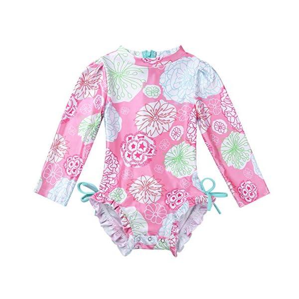 iEFiEL Baby/Toddler Girls Rash Guard Swimsuit Shirt Tops Long Sleeve Floral Sun Protection UPF 50+ Bodysuit Swimwear