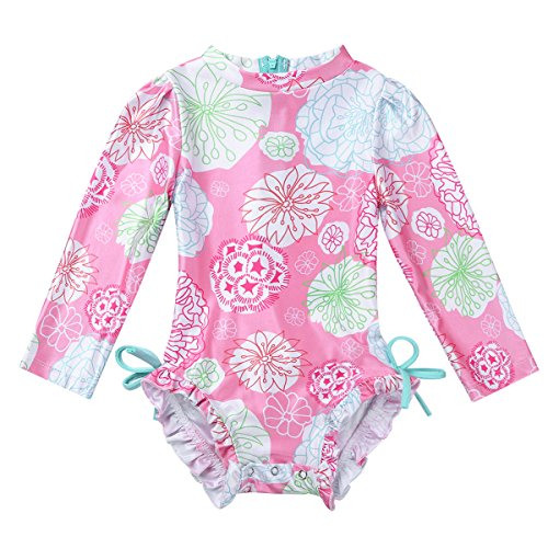 dPois Infant Baby Girls' Long Sleeves One-Piece Floral Rash Guard Ruffles Swimsuit Swimwear with Back Zipper Pink 6-12 Months