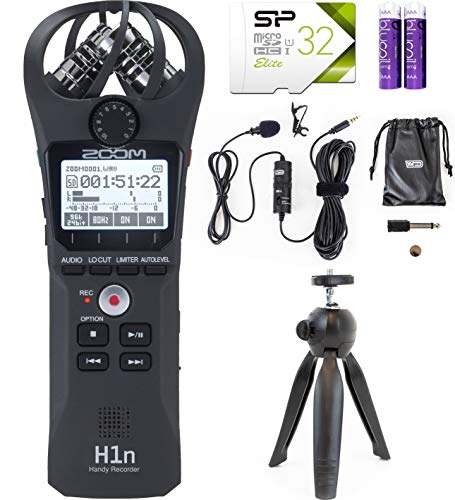 Zoom H1N Handy Recorder Bundle with 32GB microSDHC Memory Card with Adapter, Wired Lavalier Microphone, Table Top Camera Tripod, and Blucoil 2 AAA Batteries