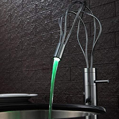 G0000D - Grifo de lavabo de baño con una sola palanca de latón caliente y frío con diseño de nido de pájaros, grifo mezclador LED cromado para lavabo de agua, grifo mezclador de agua de alta calidad y envío gratis