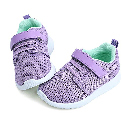hiitave Toddler Shoes Girls Cute Trail Running Sneakers Lightweight Tennis Shoes for Walking,Fall,School,Camp Purple/Aqua 7 M US Toddler