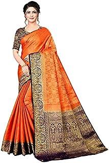 Neerav Exports Kanjivaram Soft Silk With Rich Pallu Traditional Jacquard Saree (Orange)