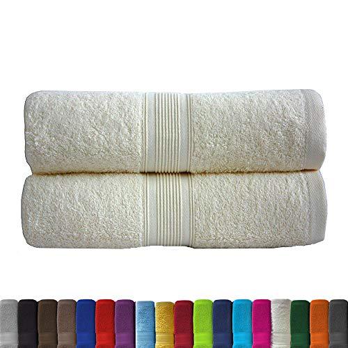 leevitex® 2er Pack Frottier XXL Saunatücher Set 80x200cm - Saunatuch, Sauna-Handtuch, Qualität 500 g/m² - 100% Baumwolle in vielen modernen Farben (Creme/Naturweiß)