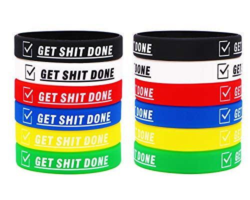 Motivational Silicone Bracelets Rubber Wristbands with Inspirational Sayings GET Things Done for for Adults and Teenagers, Used in Company Groups and Teams as Party Favors and Incentive Awards