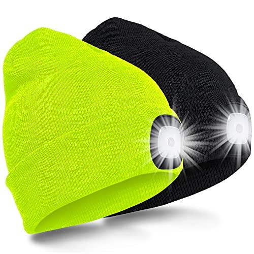 SPGOOD LED Beanie Beleuchtete Mütze mit Licht Laufmütze Herren Damen Kappe Lampe USB Nachladbare Mütze Winter Warm Stirnlampe mit LED Licht für Jogger,Camping,Laufen (Schwarz&Fluoreszierendes Gelb)