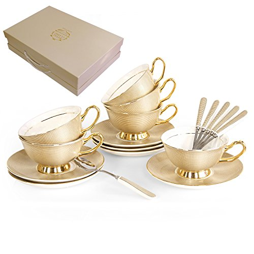 NDHT Pack of 6 Bone China Teacups/Coffee Cup and Saucers Sets with Spoons-10.2Oz, for Home, Restaurants,Golden,with 1 Gift Box