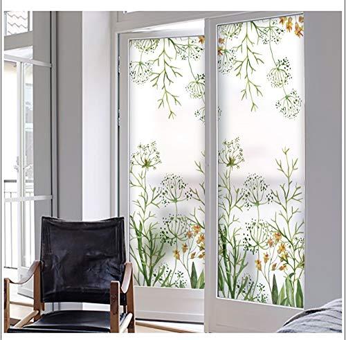 WGSJA Stickers met bloemenmotief, van kleurrijk glas, voor thuisdecoratie, zonder lijm, waterbestendig, verwijderbaar, mat, mat 50X135CM Een