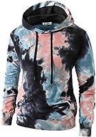 KLIEGOU Mens Tie-Dye Pullover Hooded Sweatshirt
