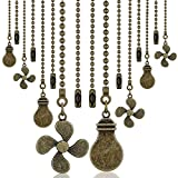8 Pieces Bronze Pull Chains Ceiling Fan Chain Extension Bronze Fan Pull Chain Pendant 12 Inch Ceiling Fan Chain Extender Ornament with Fan and Light Bulb Chain Connector