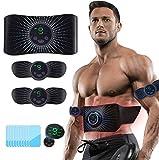 Moonssy Electroestimulador Abdominales Muscular Aparatos para Hacer Ejercicio casa, electroestimulacion,USB Recargable EMS Estimulador,Gym en casa,Muscular Pantalla LCD