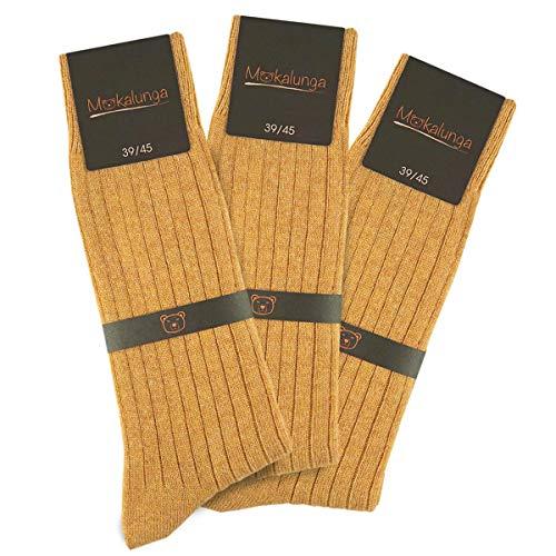 Mokalunga Chaussettes homme caramel (Lot de 3 paires) - Fabriqué en europe