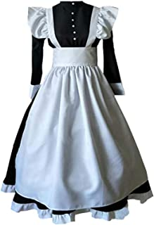 Women Edwardian Victorian Maid Dress Pilgrim Pioneer Costume Colonial with Apron