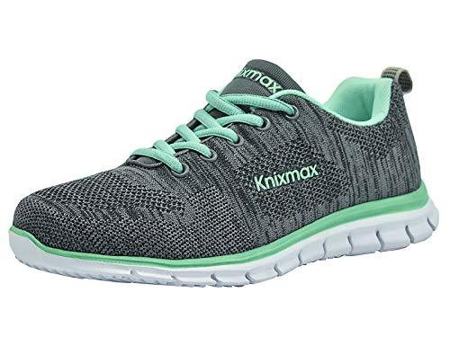 Knixmax Herren Damen Laufschuhe Sneaker Leicht Bequem Atmungsaktiv Sportschuhe Turnschuhe Outdoor Fitnessschuhe Knit Grau-Grün Damen Gr.36 EU