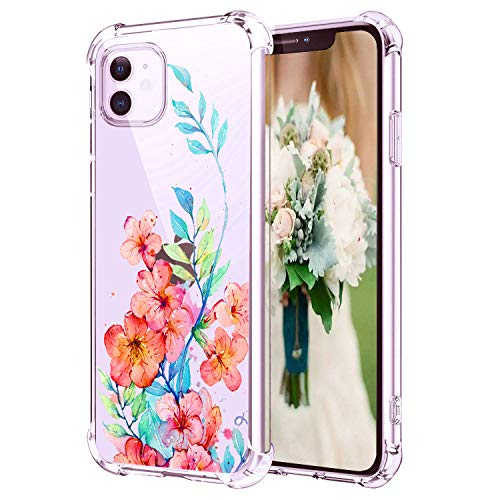 "Hepix iPhone 11 Case Floral Clear 11 iPhone Cases, Watercolor Red Flowers Phone Cases Protective Slim Flexible Soft TPU with Four Bumpers Camera Screen Protection Anti-Scratch for iPhone 11 (6.1"")"