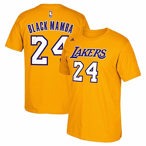 adidas Kobe Bryant Los Angeles Lakers Black Mamba Gold Jersey Name and Number T-Shirt Small image