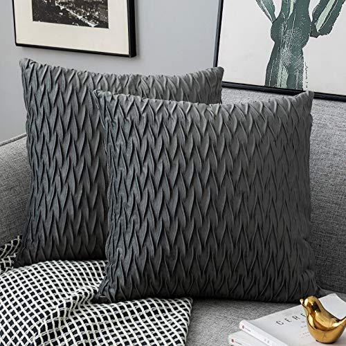 Yamonic Kissenbezüge Set Samt Soft Solid Dekorative Kissen Fall für Sofa Schlafzimmer 50cmx50cm 2er Pack für Couch Bett Sofa Stuhl Schlafzimmer Wohnzimmer, Grau