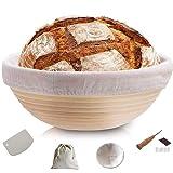 YUMMY & HOME – Cestino da fermentazione ideale per pane in canna naturale (rotonda | Ø 25 cm) – con raschietto per impasto, panno di lino, sacchetto per il pane Lahm (5 lame) – per panettiere, mamme